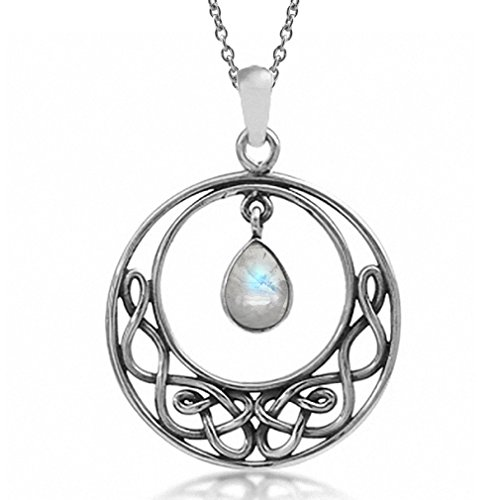 Silvershake Natural Moonstone 925 Sterling Silver Celtic Knot Drop Dangle Pendant with 18 Inch Chain Necklace