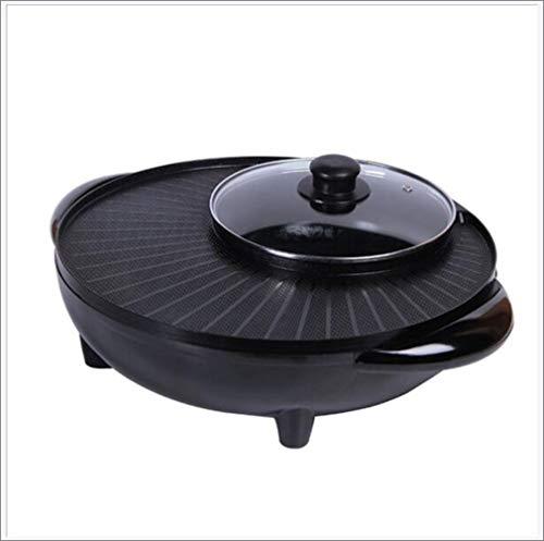 Grote capaciteit indoor hot pot chafing dish, elektrische barbecue grill, huishoudelijke multifunctionele non-stick pan elektrische kookplaat 1800W