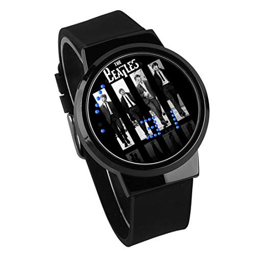 Armbanduhren,Touchscreen LED Uhr The Beatles Rock Band Around Silikonarmband Wasserdicht Leuchtend Elektronische Uhr Schwarz