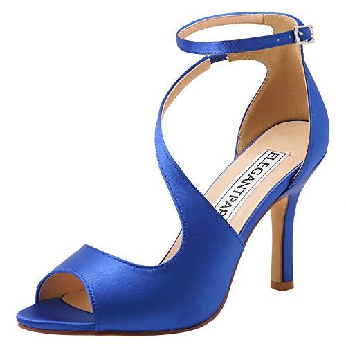 ElegantPark HP1565 Mujer Peep Toe Sandalias Boda Tacón De Aguja Correa De Tobillo Satén Zapatos De Novia Azul 37