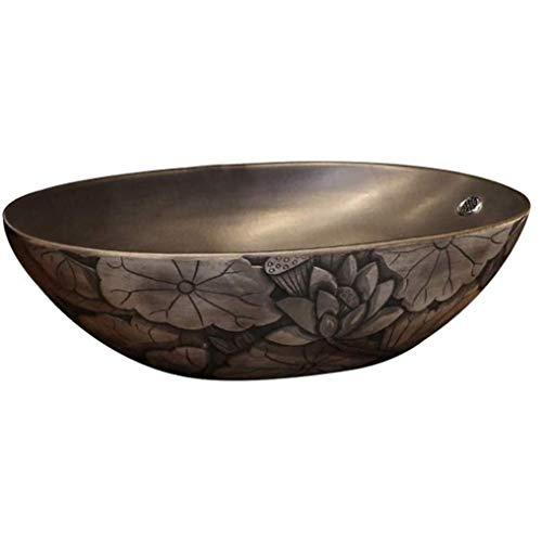 HIZLJJ Bathroom Vanity Sink Top Bagno Vessel Lavelli Antico Totem Modello di Cui sopra bancone del Bagno del lavabo Vanity Bowl Bacino