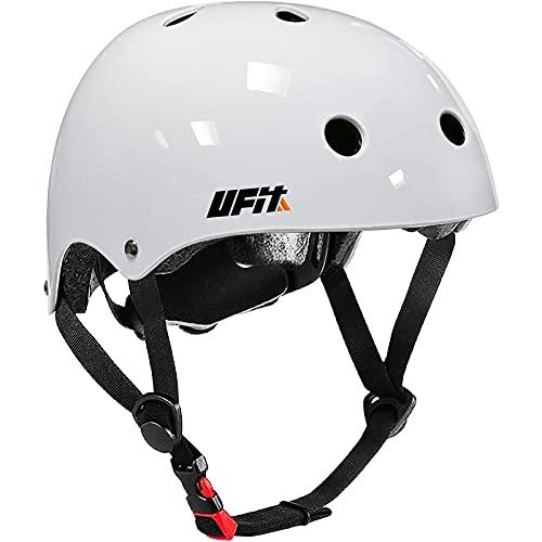 Kinder Verstellbarer Helm Skateboard Helm Jungen Mädchen Fahrradhelme für 3 bis 13 Jahre Kinder (White, small(3-8 Years Old))