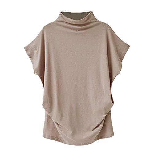 LOPILY Oberteile Bluse Tee Shirt Frauen Sommer Elegant Rollkragen Übergröße Kurzarmshirt Tops Solide Baumwolle Casual Schmetterlingshülse Blusentop T-Shirt Plus Größe(Khaki,M)