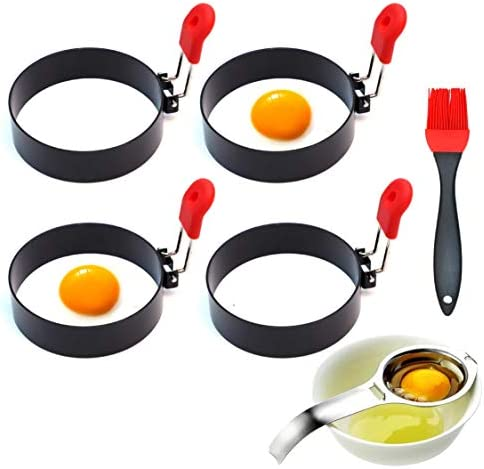 4 Pack Stainless Steel Nonstick Egg Rings For Frying Or Shaping Eggs Round Egg Cooker Rings product image