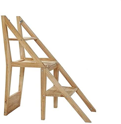 Multifuncional Escalera de Tijera Silla de paso de madera maciza, 2 Multiuso...