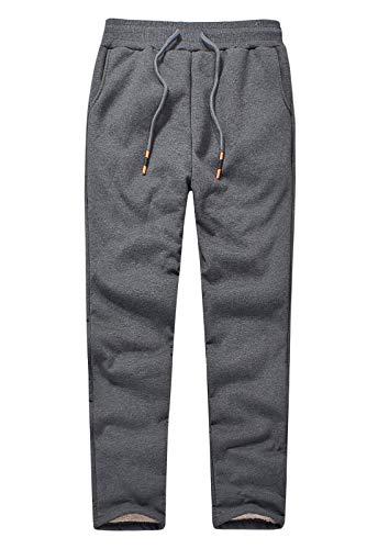 Flygo Mens Winter Warm Fleece Lined Sweatpants Straight Leg Active Running Pants (Large, Dark Grey)