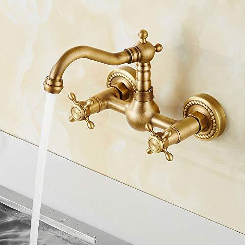Grifo de cobre antiguo para cocina, mezclador clásico de latón grifo de pared doble palanca caliente y fría giratorio bañera grifo europeo