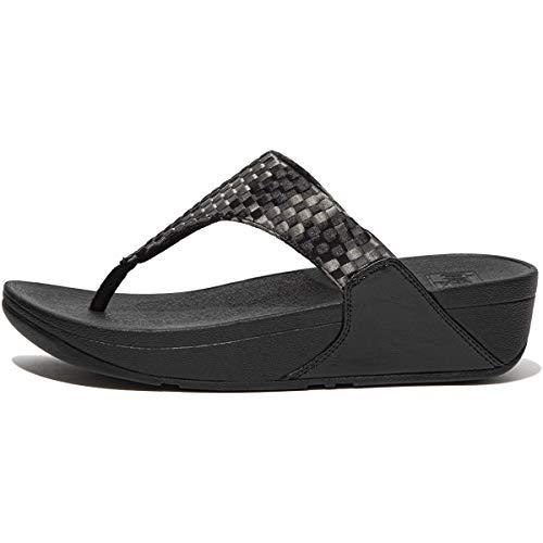 Fitflop Lulu Silky Weave Toe-Post Sandals, Infradito Donna, Nero, 38 EU