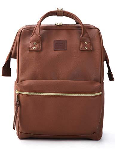 Kah&Kee Leder Rucksack Wickeltasche mit Laptopfach Travel School für Damen (Braun, Groß)
