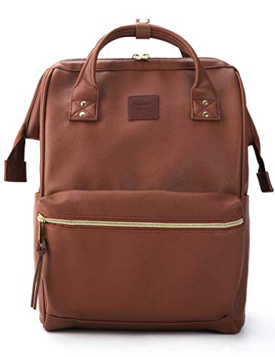 Kah&Kee Leather Backpack Diaper Bag with Laptop Compartment Travel School for Women Man (Large, Brown)