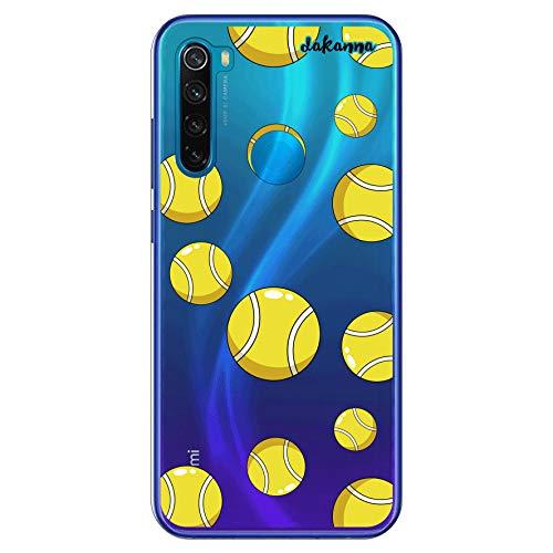 dakanna Funda Compatible con [Xiaomi Redmi Note 8] de Silicona Flexible, Dibujo Diseño [Pelotas de Tenis], Color [Fondo Transparente] Carcasa Case Cover de Gel TPU para Smartphone