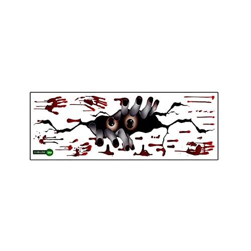 Surgewavelv Pegatinas de Pared Zsz1161 Halloween 3D Pegatinas de Pared rotas Peeping Blood Pegatinas de Pared con Huellas de Manos Pegatinas de Pared de Fondo - Multicolor 25x70Cm