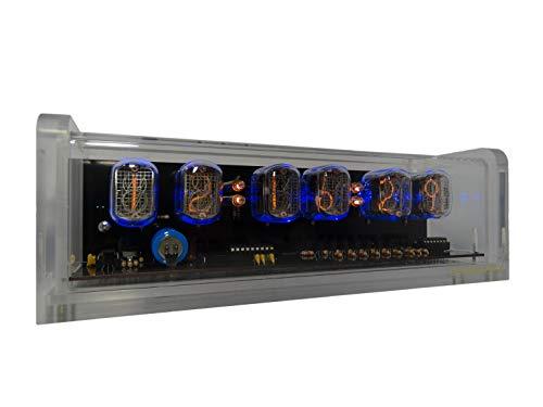 CHRONIX Nixie Röhren Uhr mit 4 x IN-12 Röhrenanzeigen & Alarm & Blaue Hintergrundbeleuchtung & Acrylgehäuse