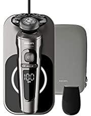Philips SP9860/13 Philips S9000 Prestige, dark chrome brushed, w trimmer, Qi charging, Offline, nanotech precision blades, Pack of 1