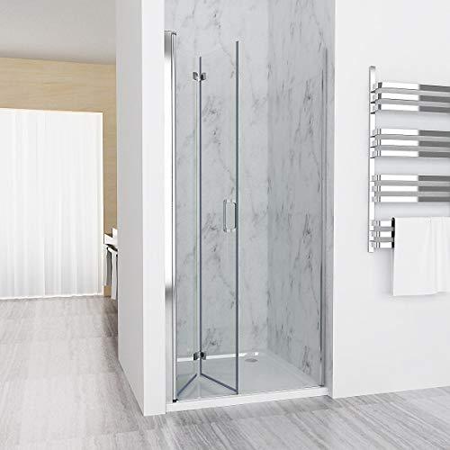 Nischentür 120 x 195 cm Duschabtrennung 180° Schwingtür Falttür Duschwand Dusche 6mm NANO Echtglas