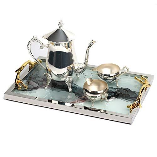 GAGP Bandeja Decorativa Desayuno Bandeja for Servir té con Espejo de la Bandeja y la Bandeja de café con manijas for la Alimentación Desayuno Cena para organizadores de Joyas/Maquillaje