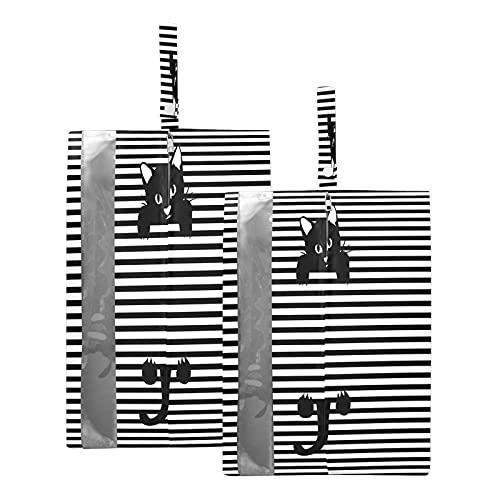F17 - Bolsas de viaje para zapatos con diseño de gato con rayas, impermeable, portátil, ligero, bolsa de almacenamiento para zapatos de viaje para hombres y mujeres, 2 unidades