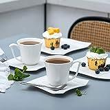 MALACASA, Serie Amparo, 18 teilig Set Porzellan Kaffeeservice Dessertteller Kaffeetasse mit Untertasse für 6 Personen - 8