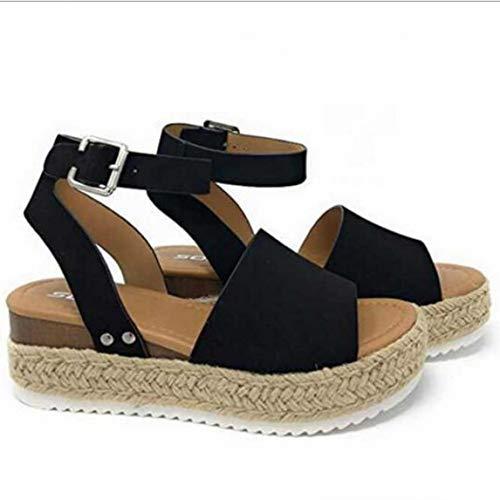 LXYYBFBD sandalen voor dames, zomer henneptouw wig met licht onderste vis mond sandalen hielriem met henneptouw dikke sandalen Europa en Amerika grote maat dames sandalen zwart