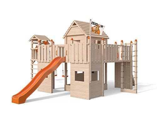 ISIDOR Spielturm Fort Fox Turm- Schaukelanbau, 3-Seiten-Strickleiter, Rutsche, Kletternetz, hissbarer Fahne und Kletterrampe auf 1,50 Meter Podesthöhe (orange)