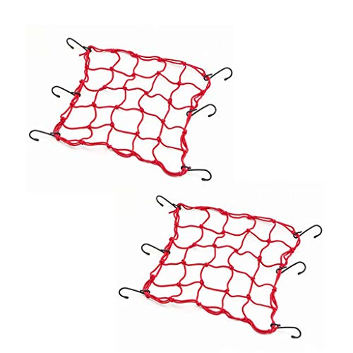 Mantain 2 Pcs 15 inch HeavyDuty Elastic Luggage Cargo Net Mesh Holder 6 Adjustable Hooks for Bike Backet Cover Red