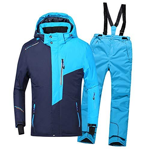 LPATTERN Kinder Jungen Skifahren Bekleidung 2 Teilig Schneeanzug Skianzug(Skijacke/Regenjacke+ Skihose), Blau Marineblau Jacke+ Blau Trägerhose, 122/128
