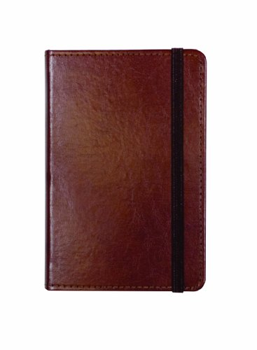 "C.R. Gibson Genuine Bonded Leather Journal, By Markings, Smyth Sewn Binding, 192 Ivory Colored Ruled Pages, Pocket On Inside Back Cover, Measures 3.5"" x 5.5"" - Small Brown (MJ3-4792)"