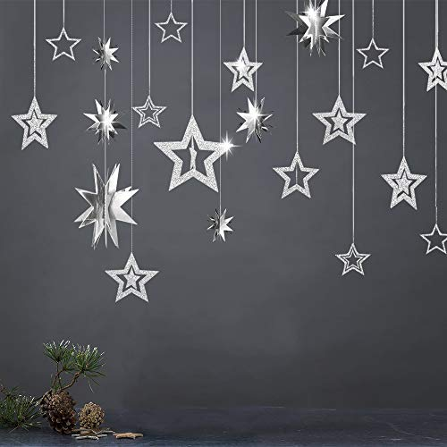 Decor365 Glitter Silver Star Garlands Kit Metallic 3D Star Decorations Hanging Paper Garland Twinkle Star Birthday Party Supplies Wedding Baby Shower Christmas Graduation New Year Ramadan EID