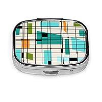 レトログリッド&スターバーストカスタムパーソナライズ長方形タブレット医学ポケット財布トラベルピルビタミン装飾ボックスケースホルダー