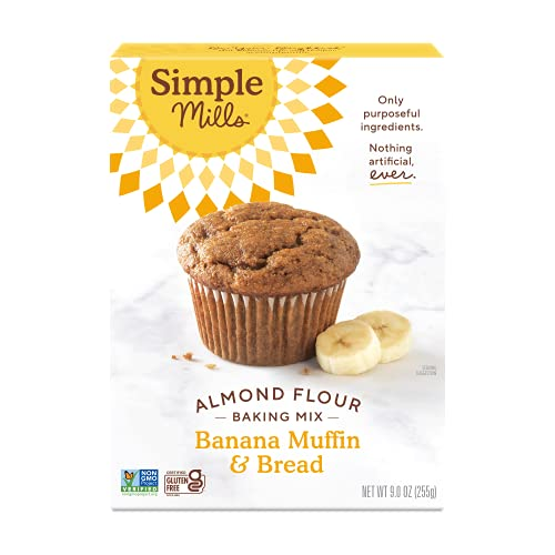 Simple Mills Almond Flour Baking Mix, Gluten Free Banana Bread Mix, Muffin Pan Ready, Made with whole foods, (Packaging May Vary), 9 Ounce