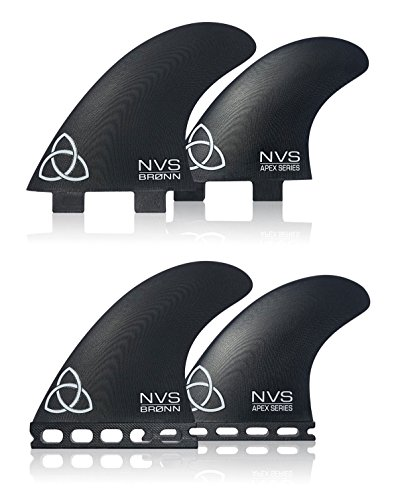 Naked Viking Surf Medium/Large Bronn Quad Apex Series Surfboard Fins (Set of 4) FCS Base