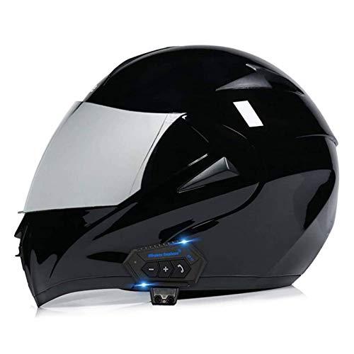 DLPAC Bluetooth Motorcycle Helmet for Adult Men Women, Modular Flip up Dual Visors Full Face Helmets, DOT Approved Helmet, Built-in Mp3 FM Radio Integrated Intercom Communication System