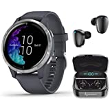 Garmin Venu GPS Smartwatch with AMOLED Display and Wearable4U Ultimate Black Earbuds with Charging Power Bank Case Bundle