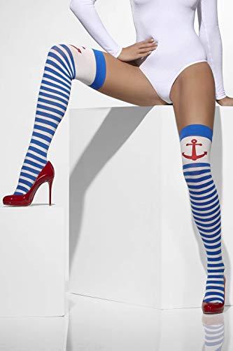 Smiffys Fever Damen Blickdichte Halterlose Strümpfe mit Anker, Gestreift, One Size, Blau und Weiß, 42705