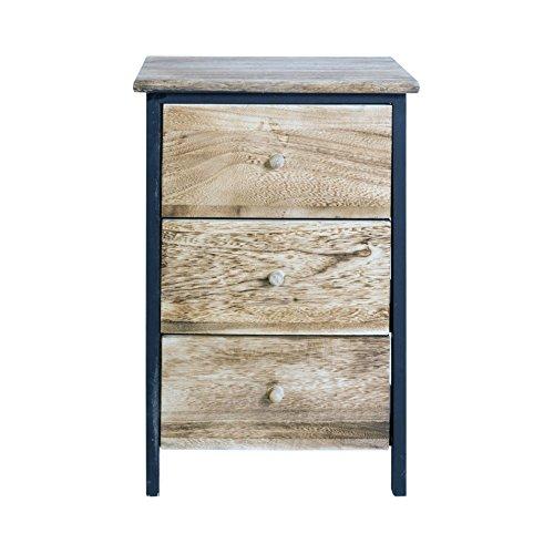 Rebecca Mobili nachtkastje industrieel design, nachtkastje 3 laden, bruin-zwart, paulownienhout, slaapkamer badkamer – afmetingen: 54 x 35 x 30 cm (h x l x b) – artikelnummer: RE4546
