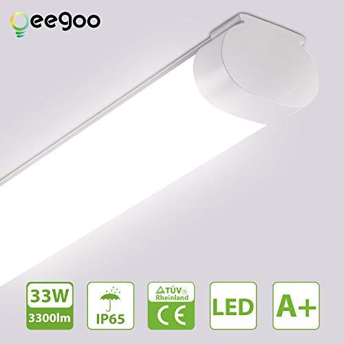 Oeegoo LED Feuchtraumleuchte 120CM, led Röhre 33W 3300LM, IP65 Wasserdicht Wannenleuchte Feuchtraumlampe Nassraumleuchte Garagenlampe Bürodeckenleuchte, 4000K