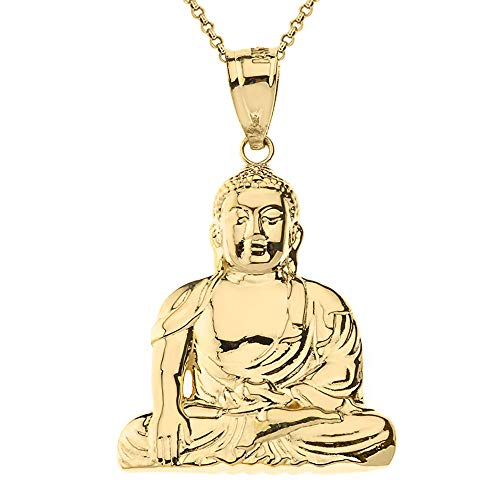 Solid 9 ct Gold Yellow Gold Zen Buddhist Meditation Buddha Pendant Necklace Necklace (Available Chain Length 16'- 18'- 20'- 22') C
