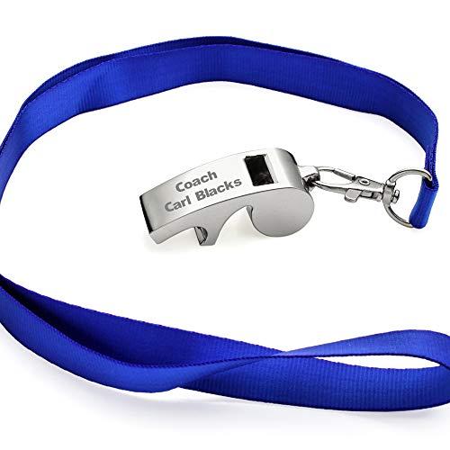 OnePlace Gifts - Silbato de Entrenador Personalizado con cordón, abridor de Botellas y Llavero, Silbato Deportivo Personalizado, Silbato de Supervivencia de Seguridad Grabado
