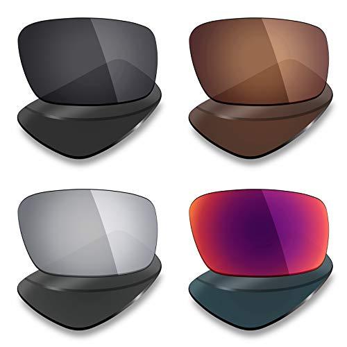 Mryok - Lentes polarizadas de Repuesto para Gafas de Sol Oakley Crankshaft (4 Pares, Titanio/Sol Medianoche)