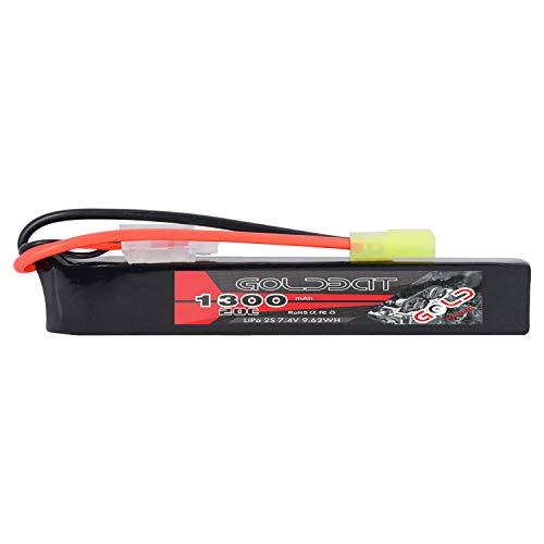GOLDBAT - Batería LiPo tipo stick 2S, 1300mAh, 20 C, 7,4 V con conector Mini Tamiya para pistola Airsoft