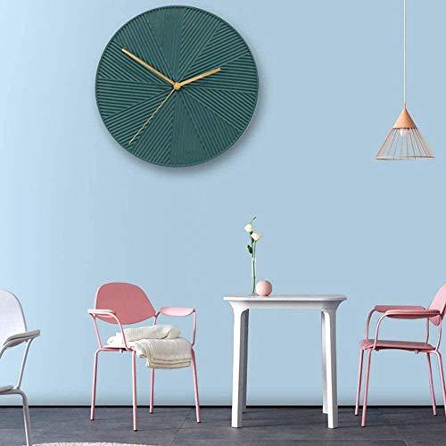 Reloj de pared estilo escandinavo para sala de estar, creativo, decoración del hogar, moderno, minimalista, dormitorio, decoración de pared, 30 x 30 cm, color verde oliva