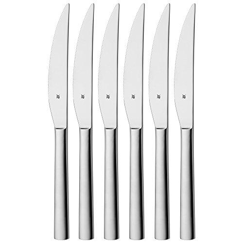 WMF Nuova Steakmesser, Set 6-teilig, 23 cm, Pizzabesteck, Cromargan Edelstahl poliert, spülmaschinengeeignet