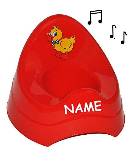 alles-meine.de GmbH Töpfchen / Nachttopf - mit Musik / Sound - groß - mit großer Lehne + Spritzschutz incl. Name - rot Ente - Toilettentrainer Klositz Babytöpfchen / Kindertopf /..