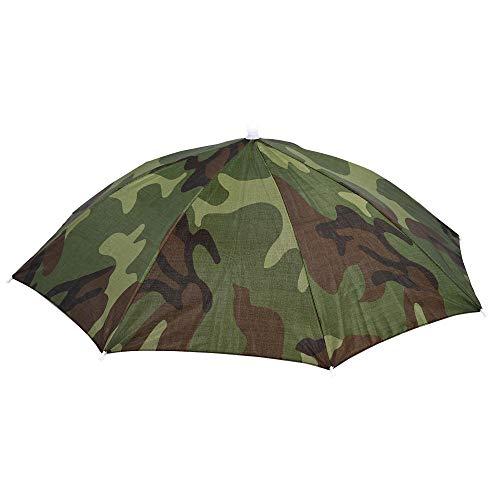 Gorra de Paraguas Gorras de Pesca Diadema elástica Patrón de Camuflaje Sol Lluvia Paraguas Sombrero Gorra para Pesca