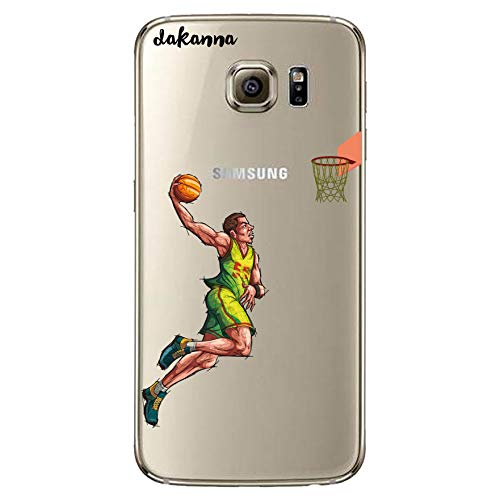 dakanna Funda para Samsung Galaxy S6   Jugador de Baloncesto   Carcasa de Gel Silicona Flexible   Fondo Transparente