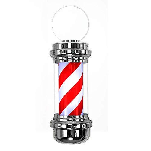 """AFDK Poste de peluquería de 29"""", rayas blancas rojas impermeables Led giratorio iluminado con lámpara de globo para letrero de salón de peluquería"""