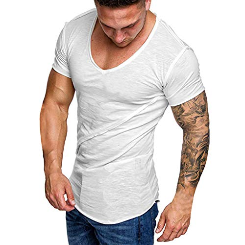 Read About Men's Pure Color Striped Pattern Casual Fashion Lapel Short Sleeve Shirt White