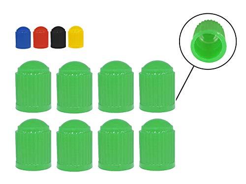 Zymbala 8X Auto Ventilkappen aus Kunststoff in Grün. Passt auf jedes gängige Kfz Ventil (Schraderventil). Reifenventilkappe für Fahrrad, PKW, Motorrad, Moped Schubkarren LKW u. v. m. … …