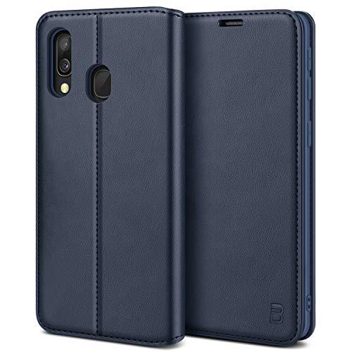 BEZ Handyhülle für Samsung Galaxy A40 Hülle, Premium Tasche Kompatibel für Samsung A40, Schutzhüllen aus Klappetui mit Kreditkartenhaltern, Ständer, Magnetverschluss, Blaue Marine