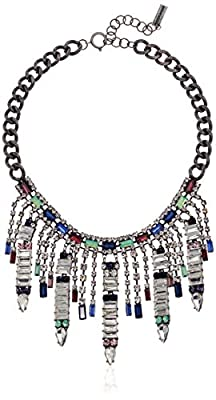 Steve Madden Women's Multi Color Baguette and Round Shaped Rhinestone Fringe Statement Silver-Tone Necklace